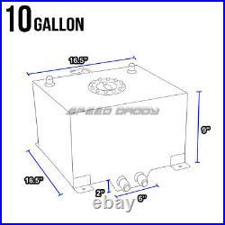 10 Gallon/38l Polished Aluminum Fuel Cell Tank+level Sender+nylon Fuel Line Kit