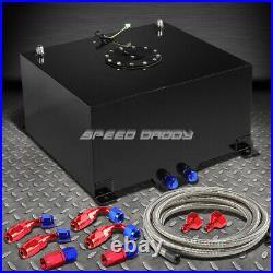 10 Gallon Black Aluminum Fuel Cell Gas Tank+cap+level Sender+steel Fuel Line Kit