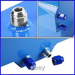 15.5 Gallon Blue Aluminum Fuel Cell Tank+cap+level Sender+nylon Oil Feed Kit