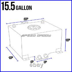 15.5 Gallon Blue Coated Aluminum Racing/drift Fuel Cell Gas Tank+level Sender