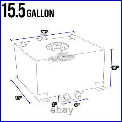 15.5 Gallon Lightweight Race Black Aluminum Gas Fuel Cell Tank+ Sender 20x18x10