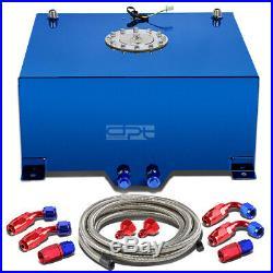 15 Gallon/57l Blue Aluminum Fuel Cell Gas Tank+level Sender+steel Oil Feed Kit