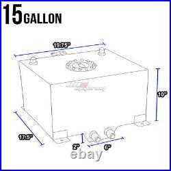 15 Gallon/57l Blue Aluminum Racing/drift Fuel/gas Cell Tank+cap+level Sender