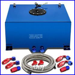 15 Gallon Blue Aluminum Fuel Cell Gas Tank+cap+level Sender+steel Oil Feed Kit
