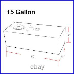 15 Gallon Lightweight Polished Aluminum Gas Fuel Cell Tank+ Sender 30x9x12