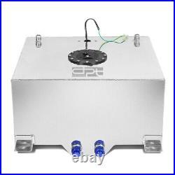 15 Gallon Lightweight Polished Aluminum Race Drift Fuel Cell Tank+level Sender