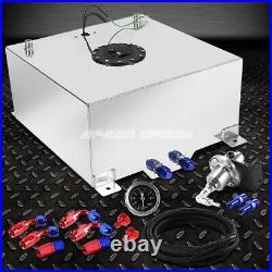 20 Gallon/78l Aluminum Fuel Cell Tank+feed Line Kit+pressure Regulator Silver
