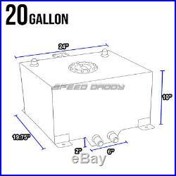 20 Gallon Blue Coated Aluminum Racing/drifting Fuel Cell Gas Tank+level Sender