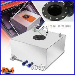 20 Gallon Lightweight Aluminum Chrome Fuel Cell/Gas Tank+Level Sender Black Cap