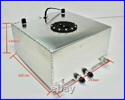 40 Litres 10 Gallon Aluminium Fuel Cell Satin + Fuel Sender Dash 10 Fitting