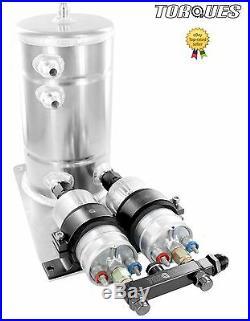 Twin Bosch 044 Fuel Pumps Aluminium Surge Swirl Pot Tank Assembly AN8/AN10 BLACK