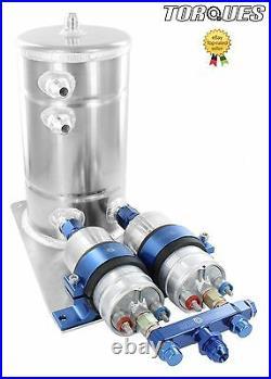 Twin Bosch 044 Fuel Pumps Aluminium Surge Swirl Pot Tank Assembly AN8/AN10 Blue