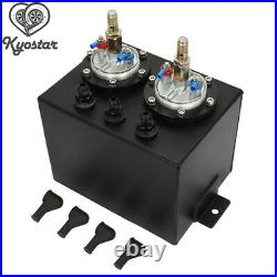 Universal 3L Black Dual Billet Fuel Surge Tank + 2 Pcs External 044 Fuel Pumps